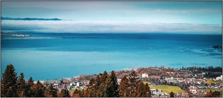 Blick auf den Bodensee auf dem Weg zum Pfänder 2018