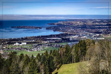 Blick auf Lindau, Friedrichshafen und Teile von Bregenz 2018