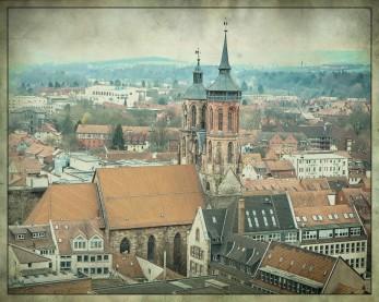 Blick von der Jacobikirche (Turm) auf die Rats- und Marktkirche