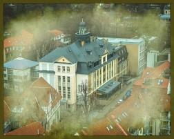 Blick von der Jacobikirche (Turm) auf die Berufsbildenen Schulen Ritterplan